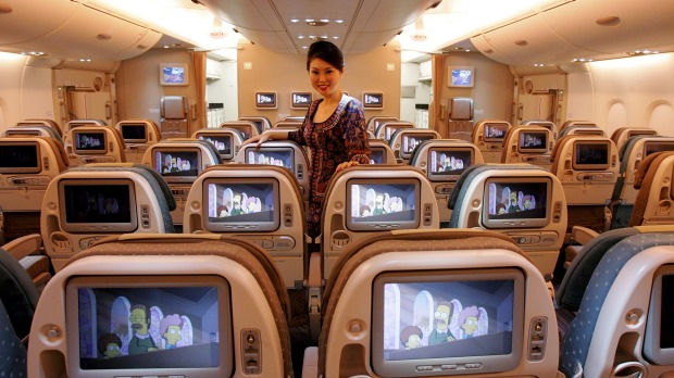 Economy seats on Singapore Airline's A380.