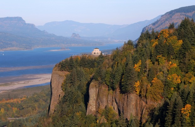 Vista House as seen from the Portland Women's Forum, Columbia River Gorge, Oregon.
