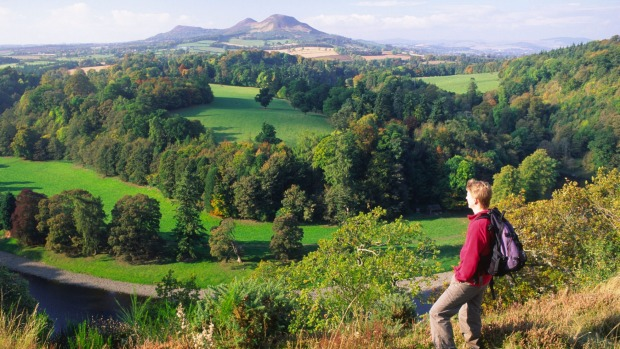 The view across the River Tweed to Eildon Hills.