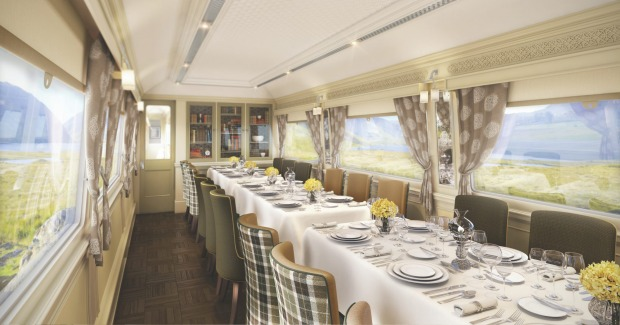 Dinning car on the Belmond Grand Hibernian.