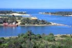 The view over the entrance to the lakes at Lakes Entrance