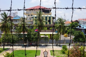 Toul Sleng through barbed wire.