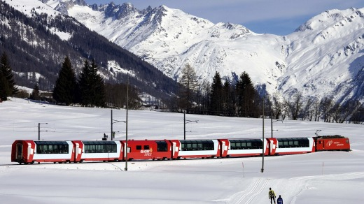 The Glacier Express in the Goms Valley.