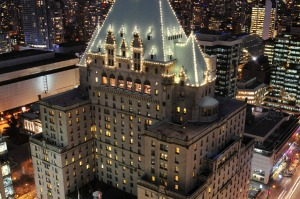 1.Fairmont Hotel Vancouver at sunset. Photo: supplied by Fairmont Hotel Vancouver tra22-sixbestvancouver