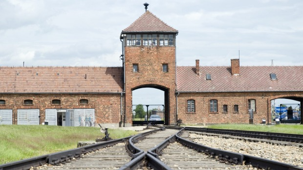 The entrance to the notorious Auschwitz-Birkenau concentration camp.