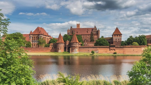 Castle of the Teutonic Order in Malbork, Poland on the river Nogat.