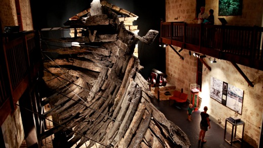 Fremantle Maritime Museum in Perth. Part of the Batavia that was wrecked in the Houtman Abrolhos in 1629 and excavated ...