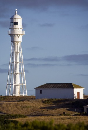 King island. Currie Harbour lighthouse, one of the few lighthouses to ever be recommissioned.