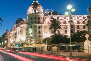Hotel Le Negresco on Promenade des Anglais in Nice, France.