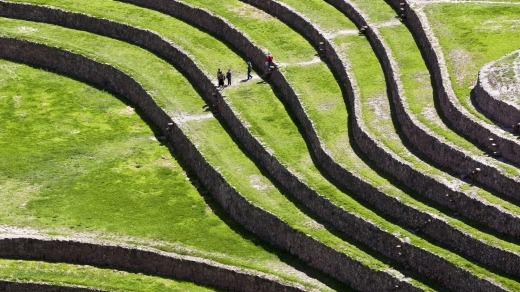 These circular terraces were built so the crops could be grown on the hilly terrain.