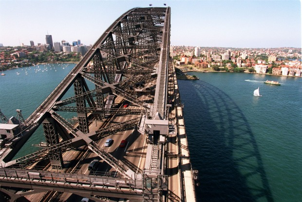 It's 202 stairs to the top: View from the top of the South-East Pylon, the Sydney Harbour Bridge.