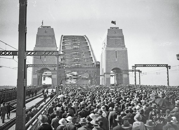 The official opening day of the Sydney Harbour Bridge in 1932, drew  remarkable crowds.