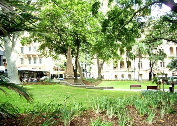 Macquarie Place is a treasure trove of oddities. Pictured, two London Plane trees planted in 1954 by the Queen. These ...