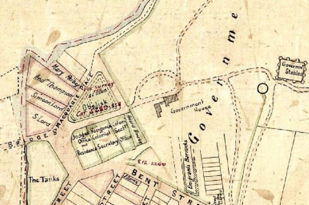 A 1880 Parish Map showing Macquarie Place and the town centre of the Colony beside First Government House and the ...