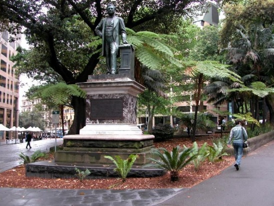 Macquarie Place is a treasure trove of oddities. Pictured, the Statue of Thomas Sutcliffe Mort (1883) at the south-west ...