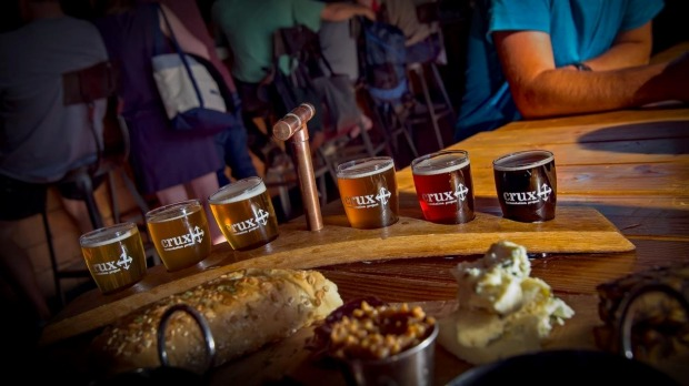 A beer paddle at Crux Fernentation Project, Bend, Oregon.