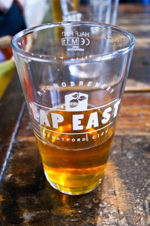 Tap East in Stratford Westfield shopping centre in London brews its own beer on-site.