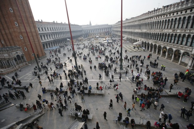 A view of St. Mark's Square in Venice, Italy during Carnival.