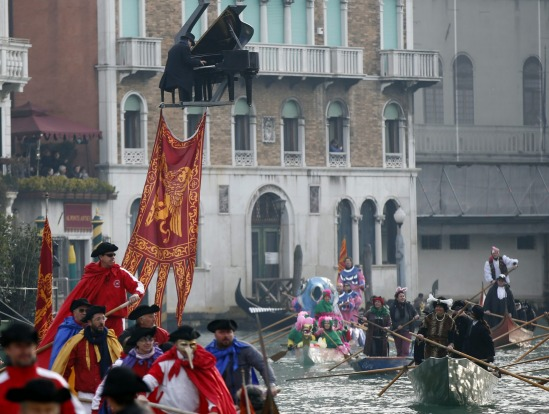 Pianist Paolo Zanarella appears to hover with the help of a crane as he performs during one of the highlights of the ...