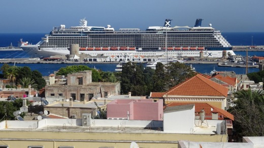 Celebrity Reflection  ... The ship moored in Rhodes, Greece.