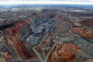 The township of Kalgoorlie, left, stands next to the Fimiston Open Pit mine, known as the Super Pit.