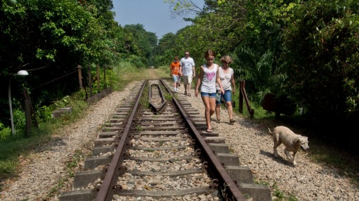 A family enjoys the tranquillity of the old railway track near Bukit Timah Nature Reserve.