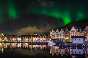 Northern Lights over scenic Bergen, Norway.