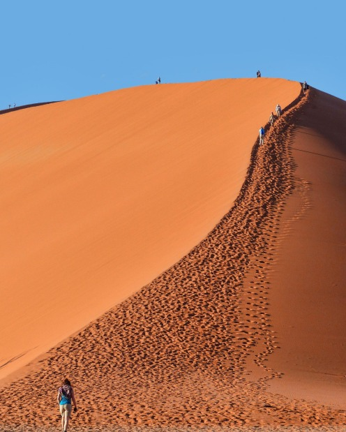 Namib Desert, Namibia: It begins all black and brooding, but as the sun slowly rises the sand dune turns a dark, angry ...