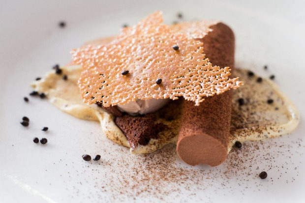 Chocolate Mousse, wattle seed cream and baked banana sorbet served at COMO The Treasury, Perth