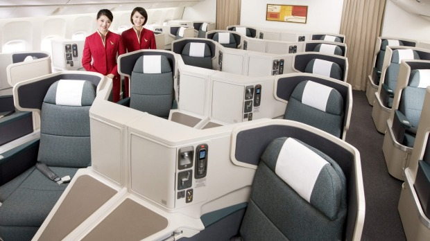 Cathay Pacific Boeing 777-300ER Business Class cabin.