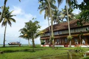 The coconut grove and lagoons at Coconut Lagoon, Kumarakom, India.