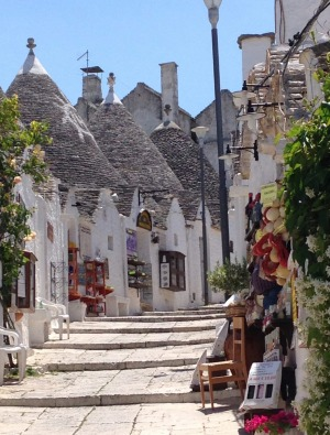 The village of Alberobello with its many trulli with their conical roofs.