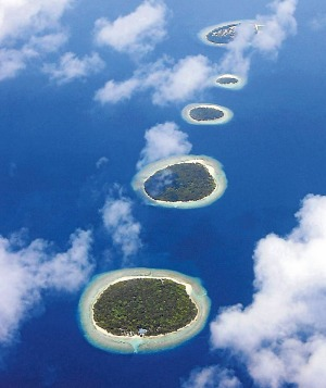 Aerial view of the Maldives atolls.