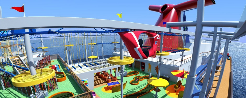 Whee! The Carnival Vista cruise liner has a skyride and a 140-metre water tube slide.