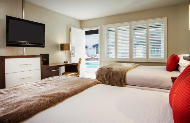 A room with direct access to the pool at the Grafton on Sunset, West Hollywood.