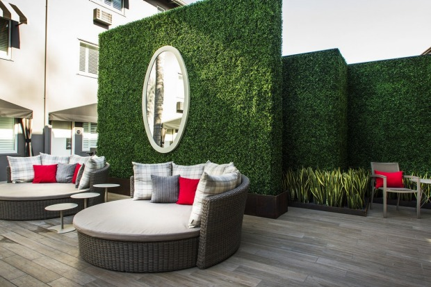 The pool area at the Grafton on Sunset, West Hollywood.