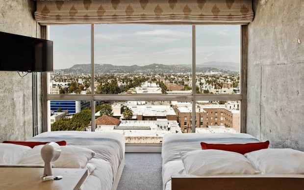A twin room at The Line, facing the Hollywood Hills.