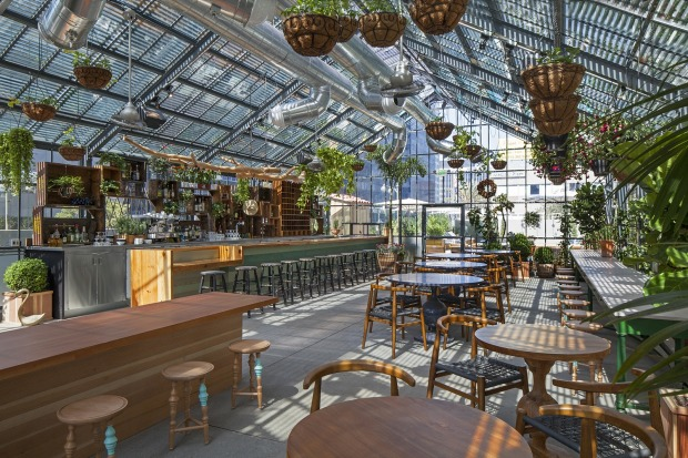 The Commissary greenhouse restaurant at The Line, Downtown Los Angeles.