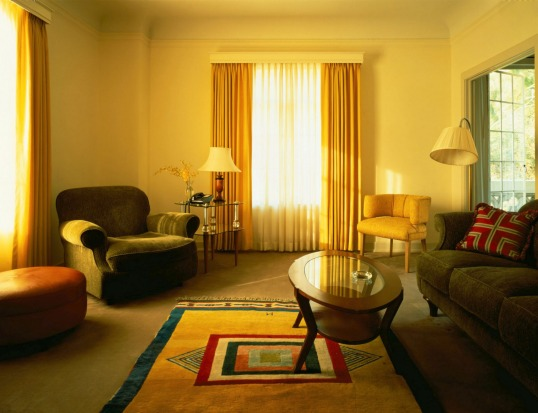 The living area of a bedroom suite at Chateau Marmont.