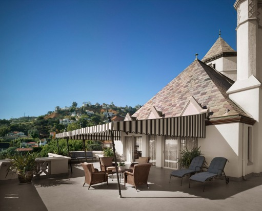 The penthouse terrace at Chateau Marmont, West Hollywood, Los Angeles.