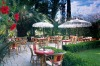 Dining al fresco on the patio at Chateau Marmont, West Hollywood.