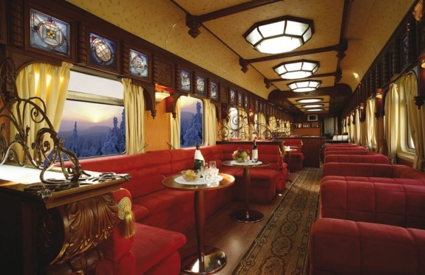 The Bar Lounge Car on a Golden Eagle luxury train.