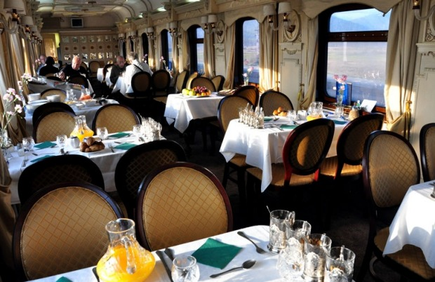 Breakfast service on the Restaurant Car on a Golden Eagle luxury train.