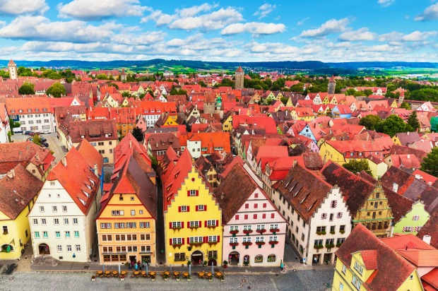 The Old Town and Market Square in Rothenburg ob der Tauber, Bavaria, Germany, along the Romantische Strasse.