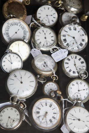 Pocket watches at flea market.