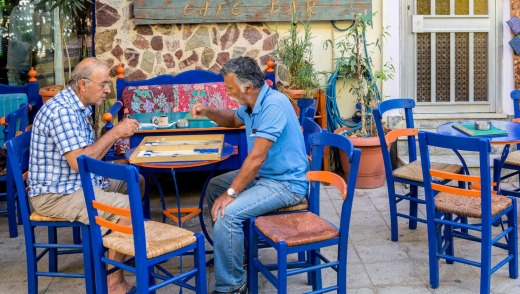 At sunset local men gather in the sleepy taverns in the village of Paleochora.