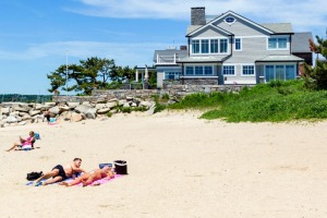 Beach in the historic old town of Stonington, Connecticut.