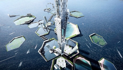 The tower will be surrounded by islands forming part of the Next Tokyo development.