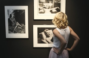 Cirstin Bedson, dressed as Marilyn Monroe, checks out MAMA's first international exhibition.