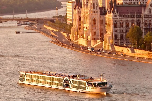 River cruising with Amadeus in Budapest.